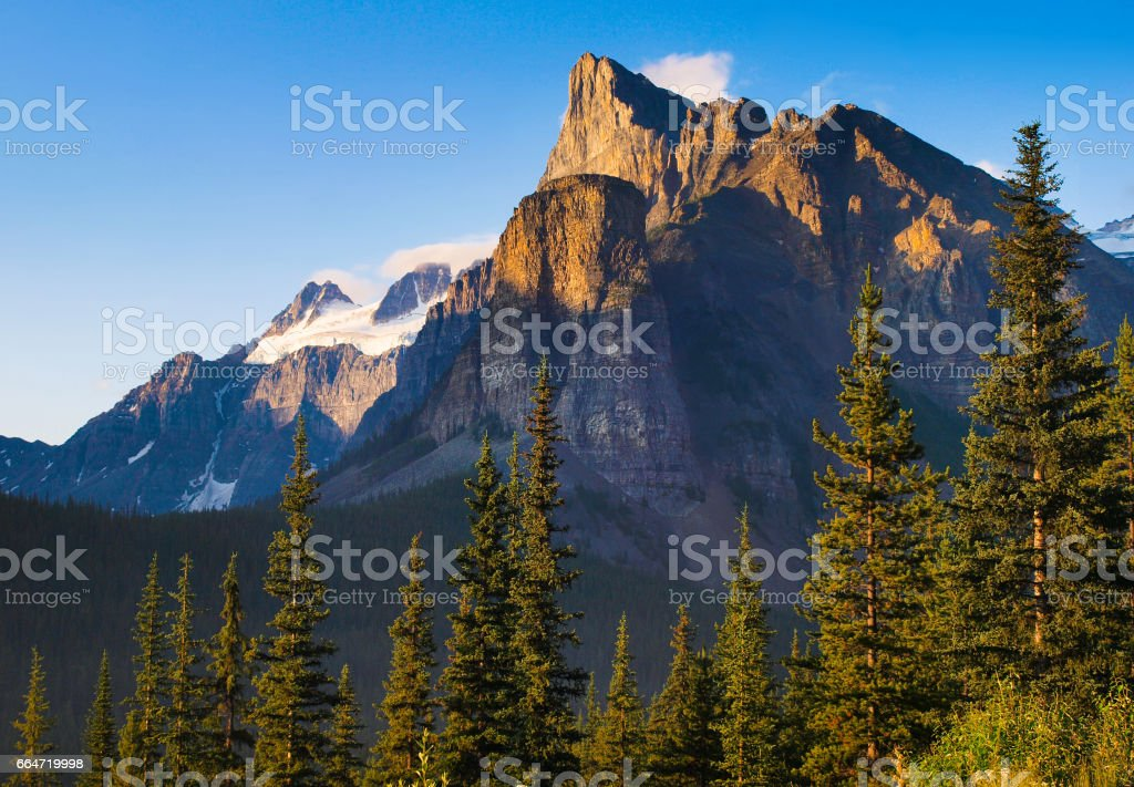 Beautiful landscape with Rocky Mountains at sunset, Banff National Park, Alberta, Canada stock photo