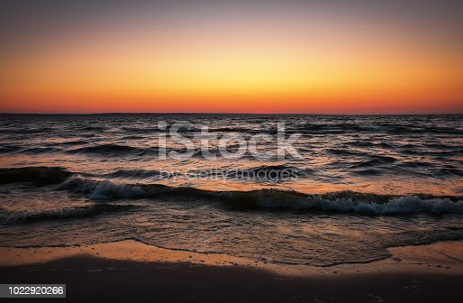 Beautiful landscape with sea and sunset sky. Composition of nature