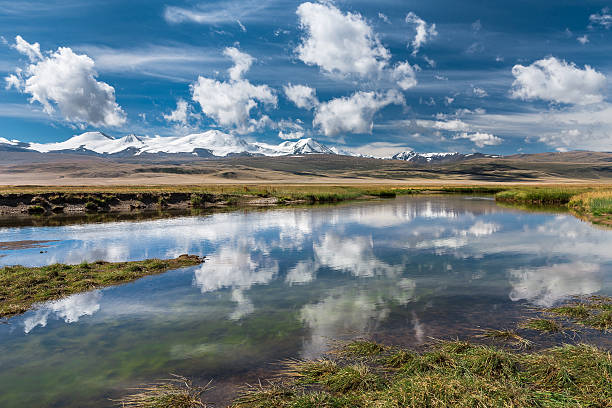 beautiful landscape with snowy mountains, river  and blue sky - altai nature reserve stockfoto's en -beelden