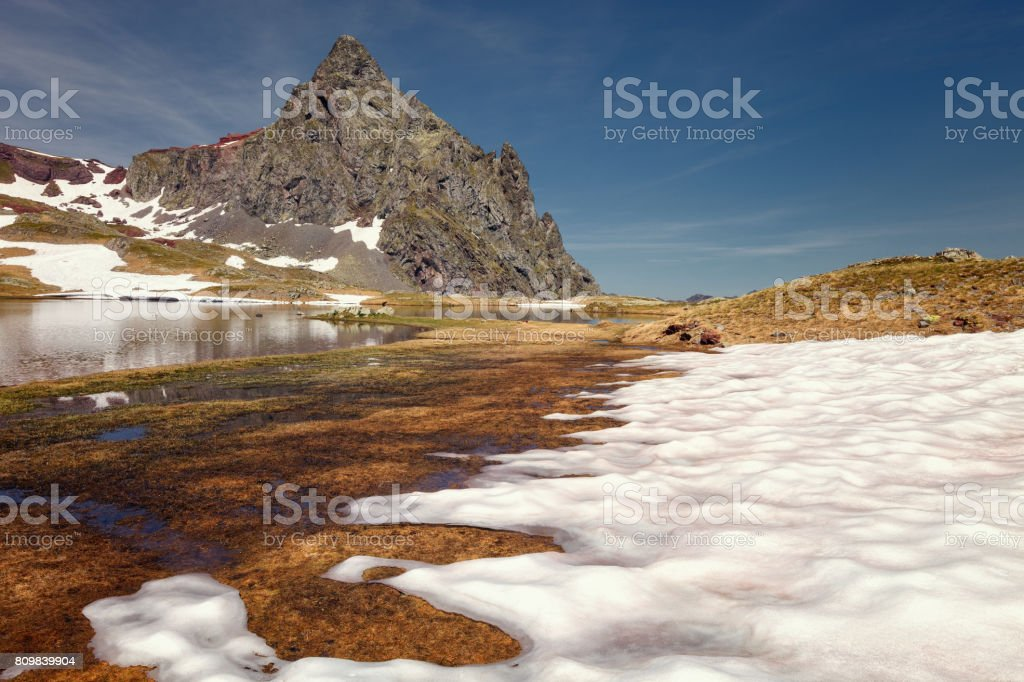 Beautiful landscape with the Anayet in the background, Parc national des Pyrenees, Spain. stock photo