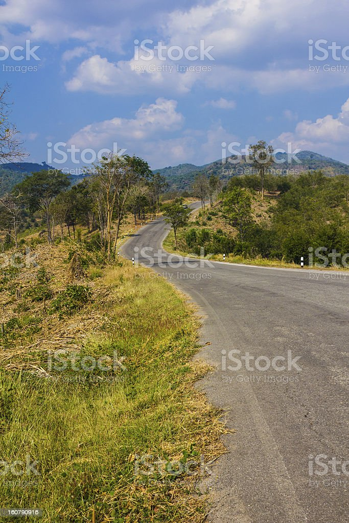 Beautiful landscape with winding road in the mountains royalty-free stock photo