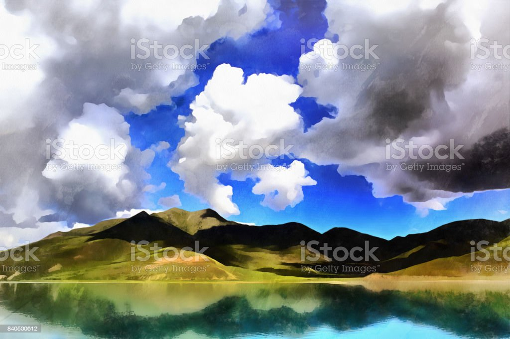 Beautiful landscape with Yamdrok lake and mountains colorful painting stock photo