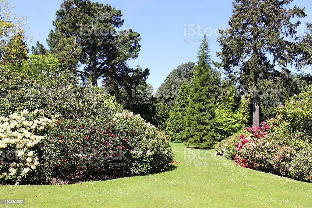 Beautiful landscaped garden with flower beds shrub borders trees beautiful landscaped garden with flower beds shrub borders trees lawn royalty workwithnaturefo
