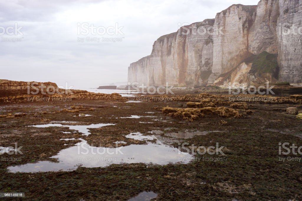 beautiful landscapes on the cliff of  Etretat on a cloudy day royalty-free stock photo