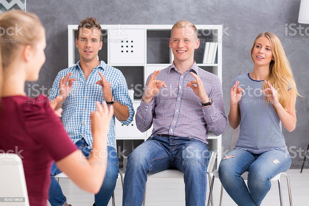Beautiful langauge is a sign language stock photo