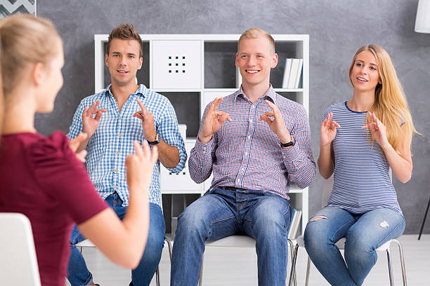 beautiful langauge is a sign language - sign language stock photos and pictures