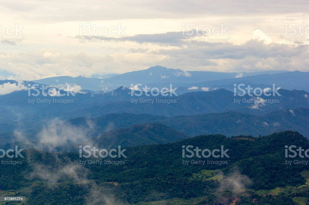 Beautiful Lanscape Nature Of Mountain And Mist In Morning stock photo