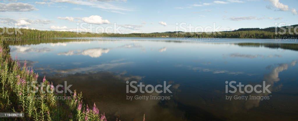 Beautiful lanscape of Kuusamo region were bgins Lapland stock photo