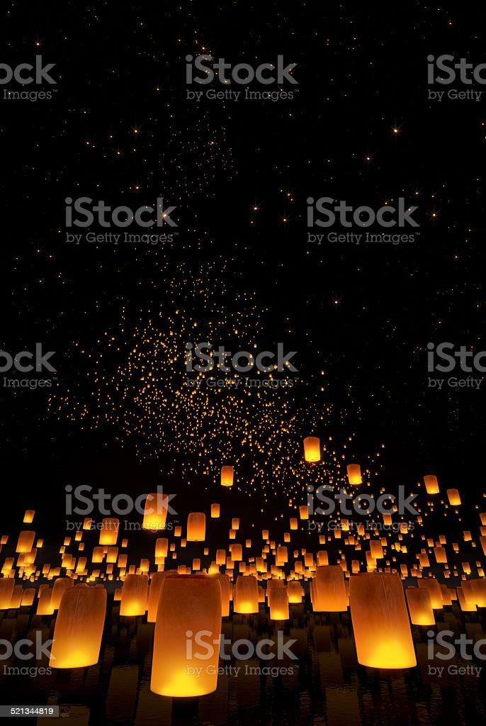 beautiful Lanterns flying in night sky stock photo