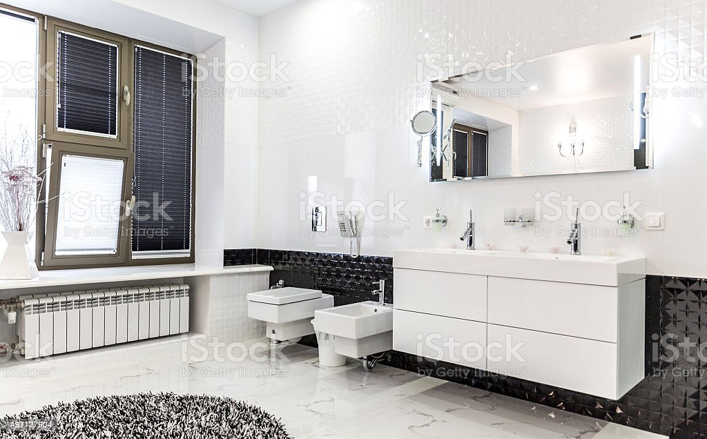 Beautiful Large Bathroom in Luxury Home stock photo