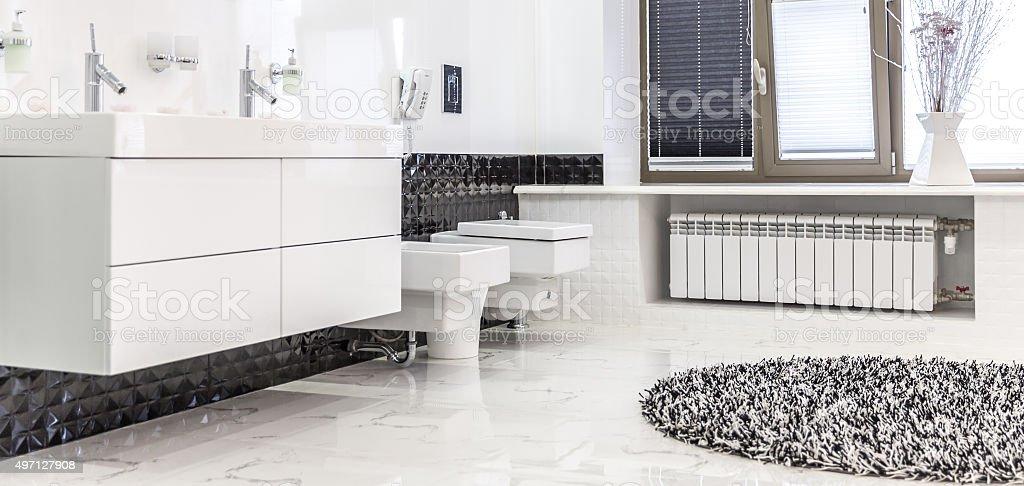 Beautiful Large Bathroom in Luxury Home stock photo