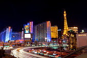 Las Vegas, Nevada/United states Of America-April 9,2018: Beautiful of light and colors from car lights and building lights on the Las Vegas Strip.