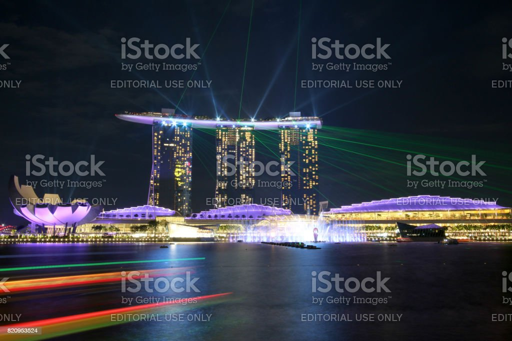 SINGAPORE - July 7, 2017 : Beautiful laser show at Marina Bay Sands. stock photo