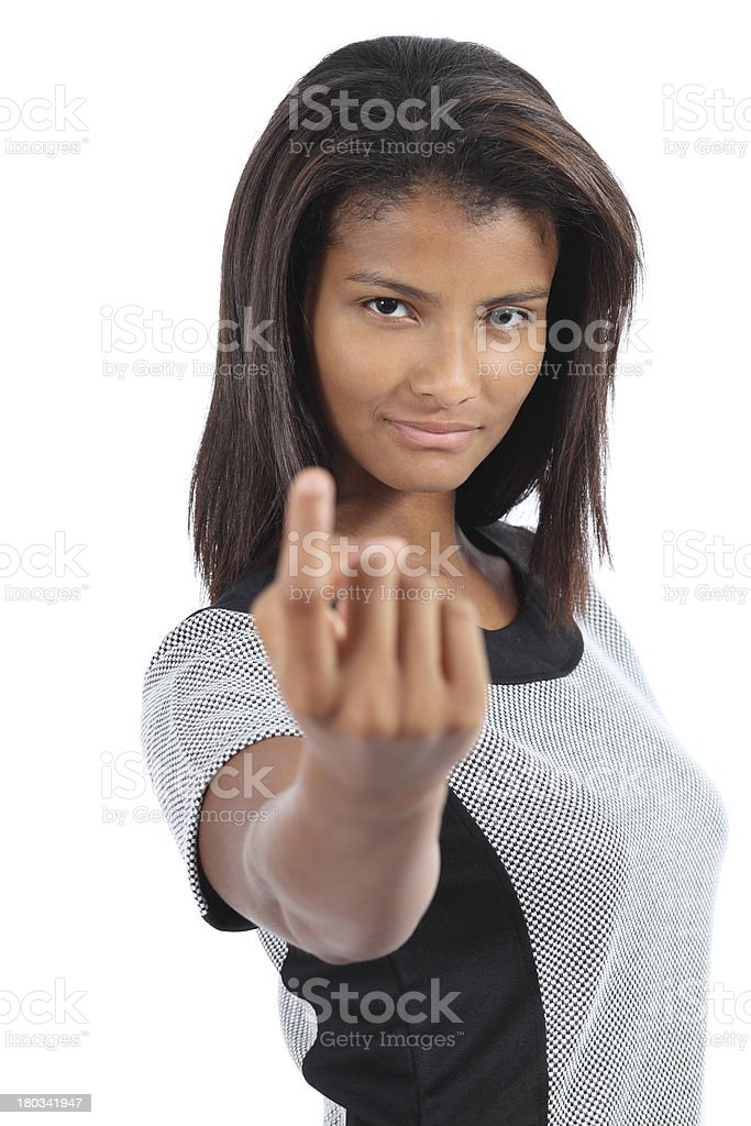 Beautiful latin american woman gesturing beckoning stock photo