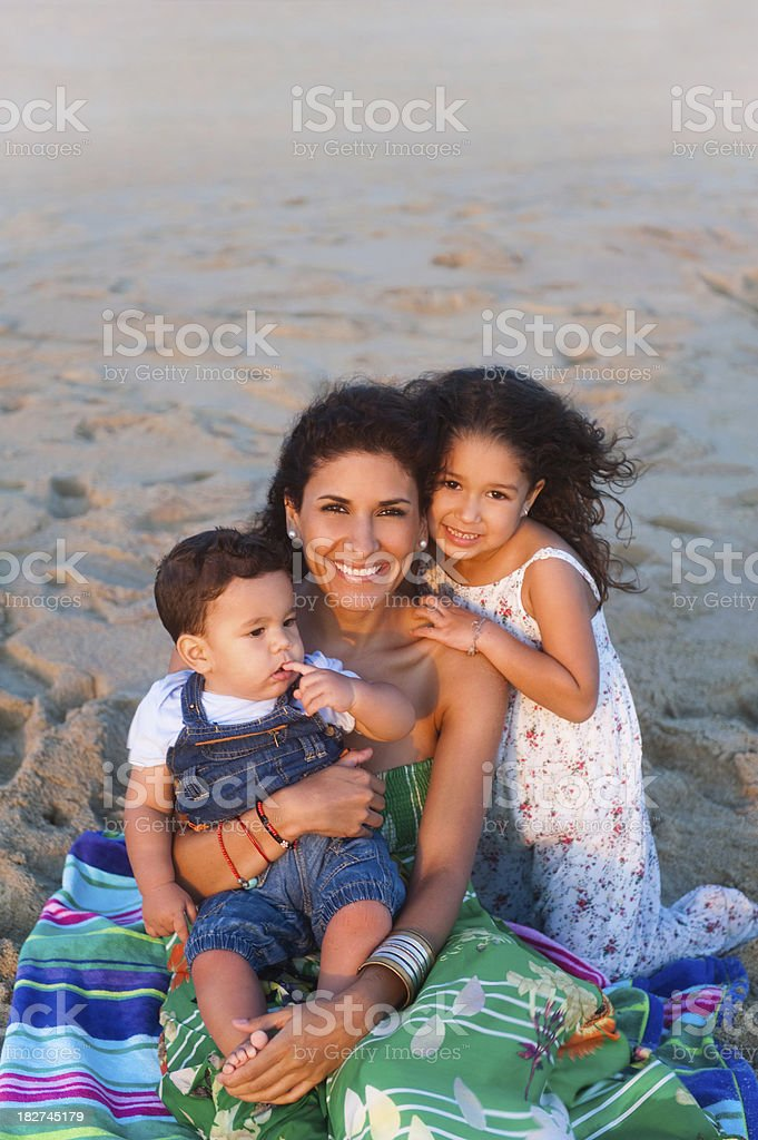 Beautiful latin family sharing royalty-free stock photo