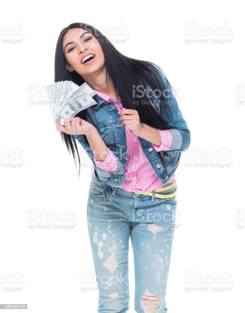 Beautiful latino female wearing denim stock photo