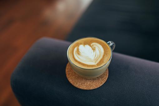 Beautiful latte art on sofa