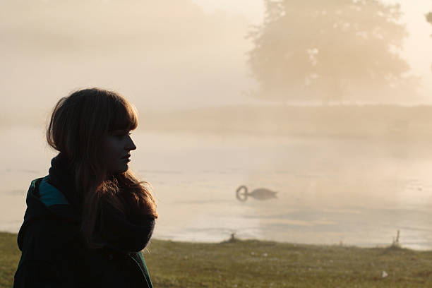 foggy autumn landscape latvian outdoor girl model - whiteway latvian outdoor girl stock photos and pictures
