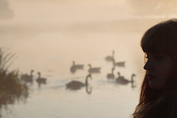 head silhouette latvian outdoor girl with canada geese - whiteway latvian outdoor girl stock photos and pictures