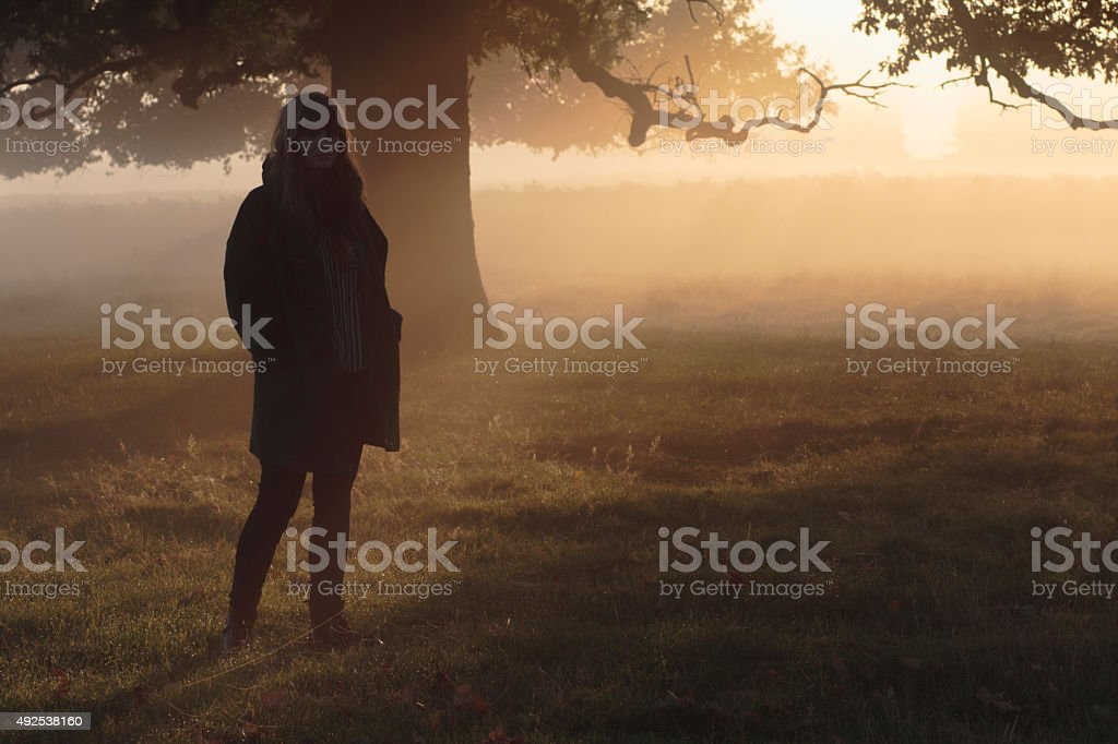 Silhouette Latvian outdoor girl model in foggy sunbeams stock photo