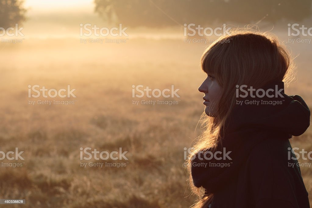 Face of autumn Latvian outdoor girl model in foggy sunbeams stock photo