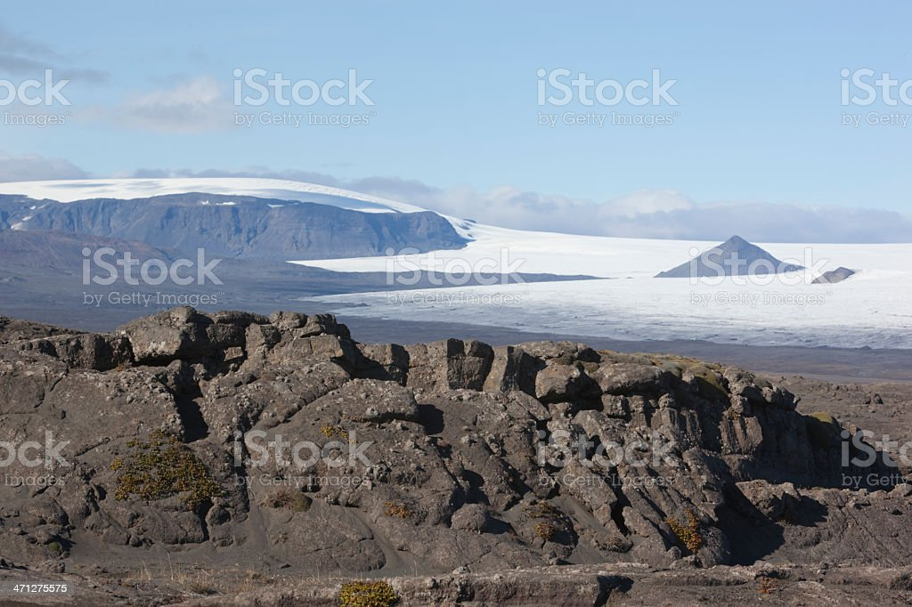 Beautiful lava formation and  Langjökull @ Iceland stock photo