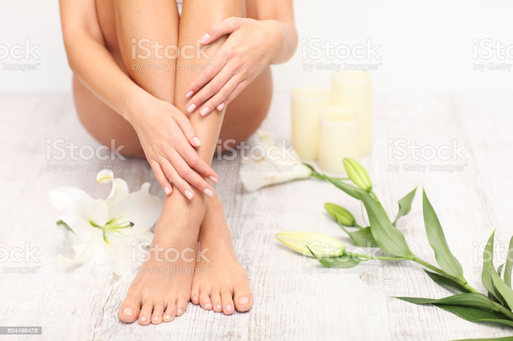 Beautiful legs and feet. stock photo