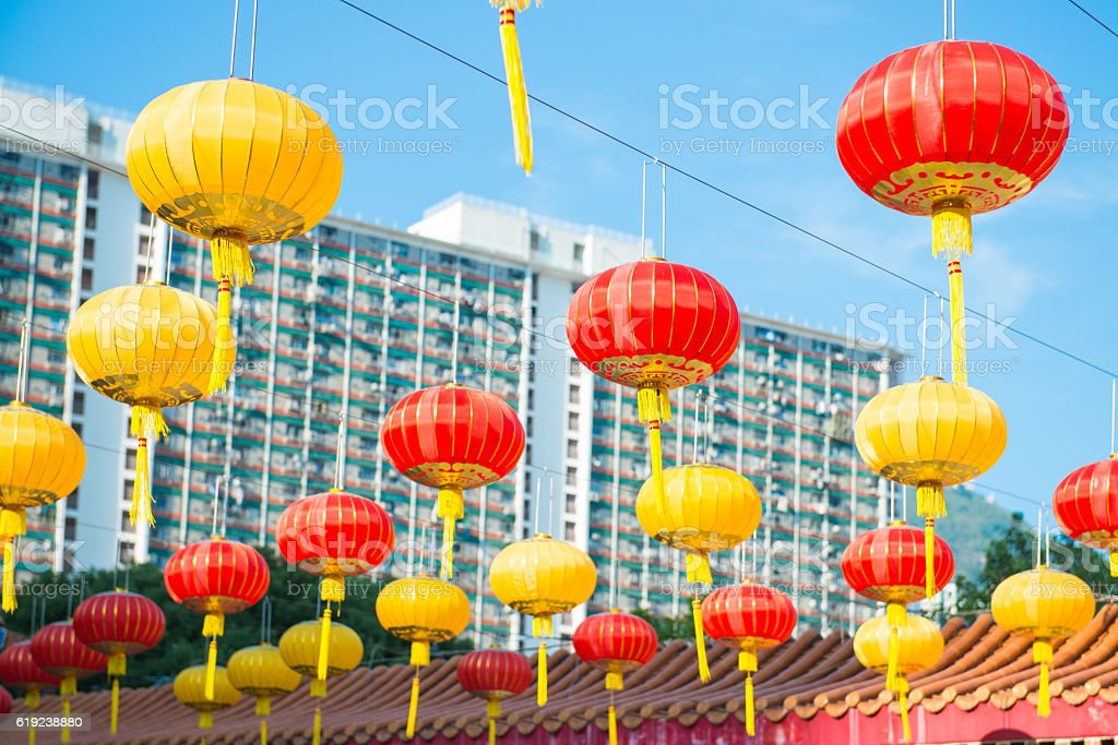 Beautiful lentern hang on Wong Tai Sin Temple stock photo