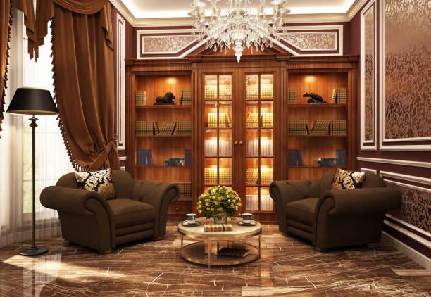 schöne bibliothek in einem luxushaus - teppich englisch stock-fotos und bilder