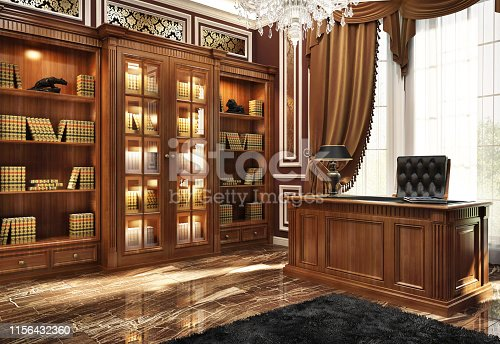 Beautiful library in a luxurious home office