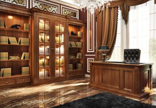 beautiful library in the home office - secretária mobília imagens e fotografias de stock