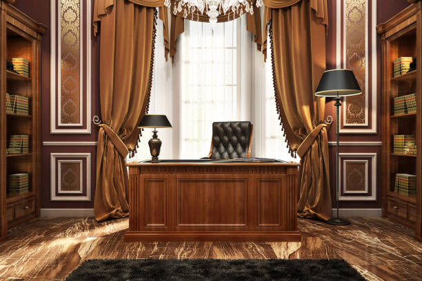Beautiful library in the home office Beautiful library in a luxurious home office classical style stock pictures, royalty-free photos & images