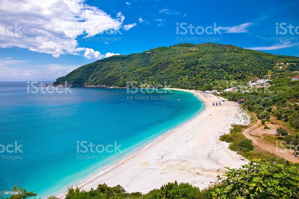 Beautiful Lichnos beach near Parga, Greece. stock photo