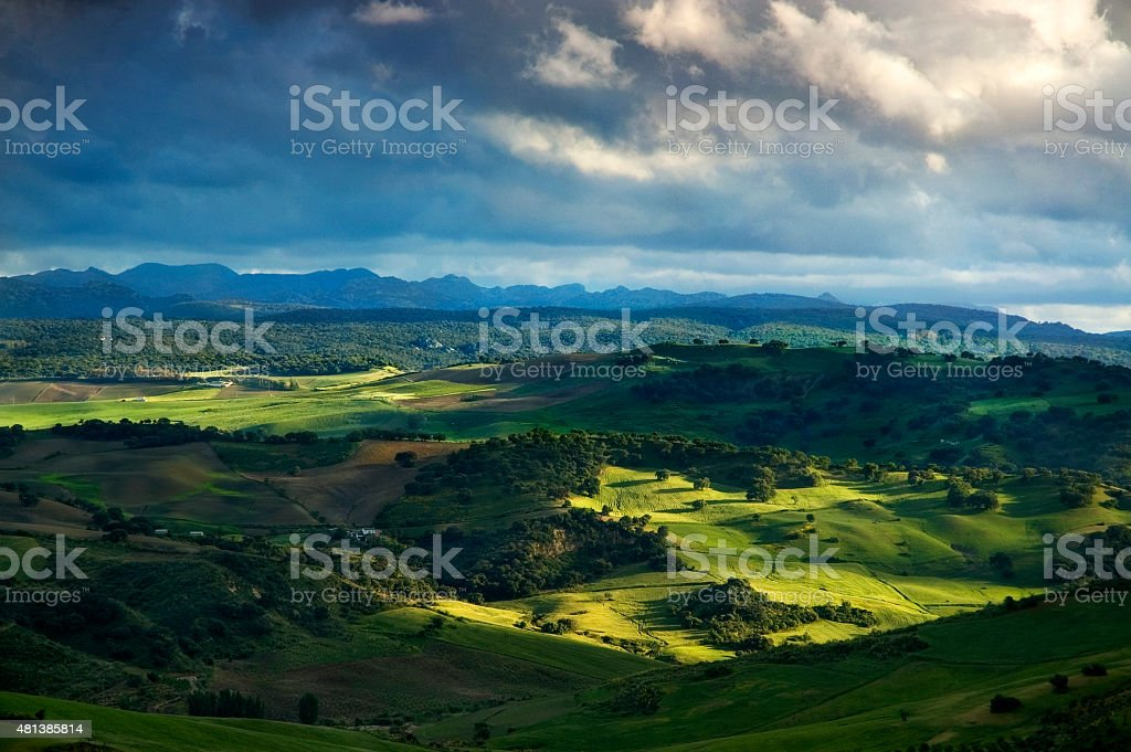 Beautiful light at sunset, Sierra de Grazalema, landscape Andalusia, Spain stock photo