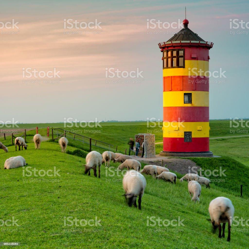 A beautiful lighthouse on the East Frisian coast royalty-free stock photo