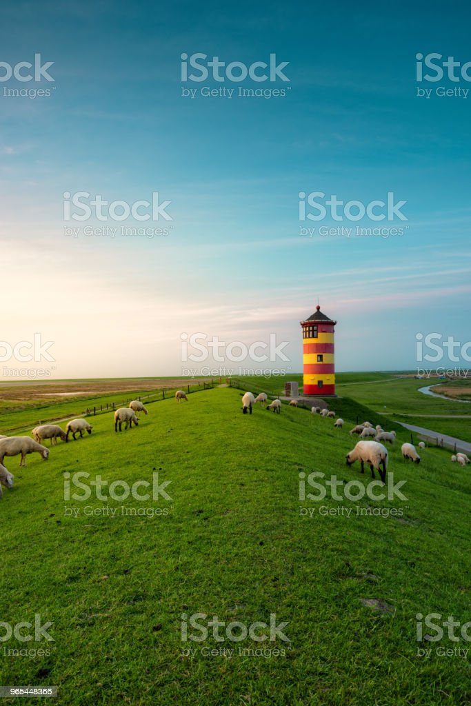 A beautiful lighthouse on the East Frisian coast royalty-free stock photo