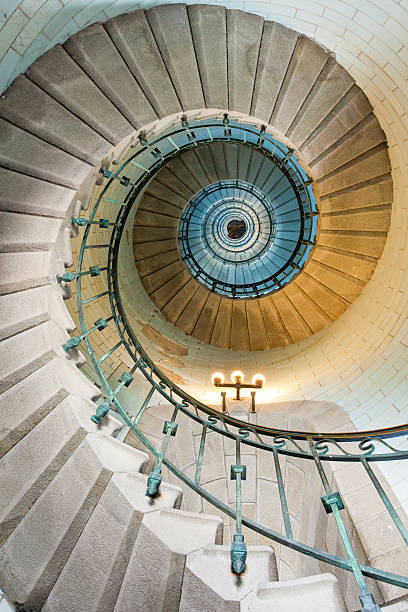 beautiful lighthouse staircase stock photo