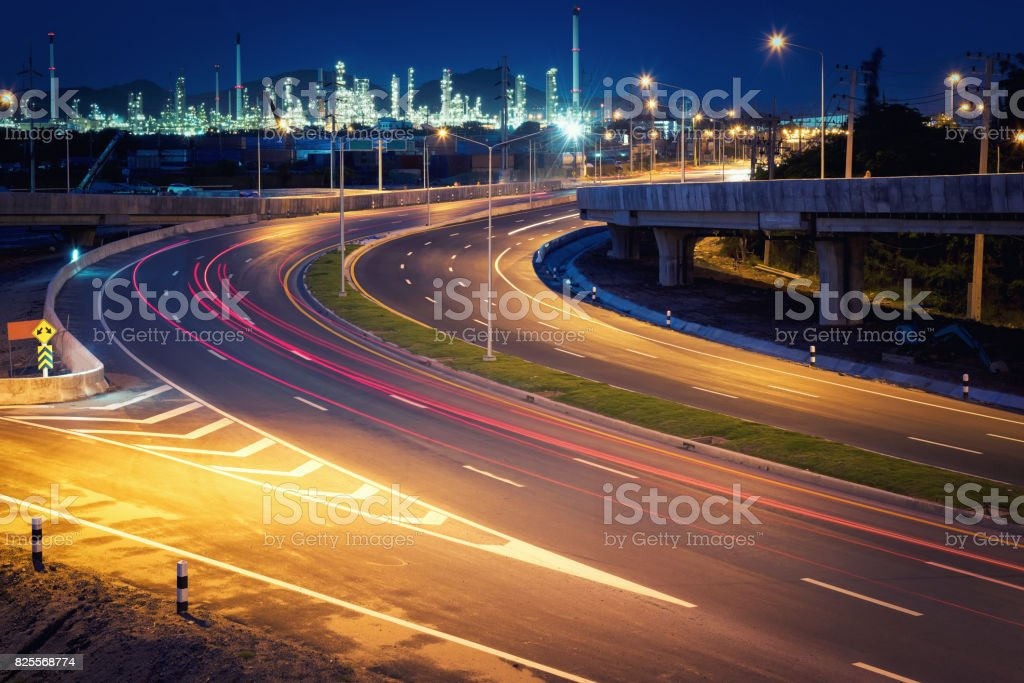 Beautiful lighting of oil refinery plant petrochemical industry with...