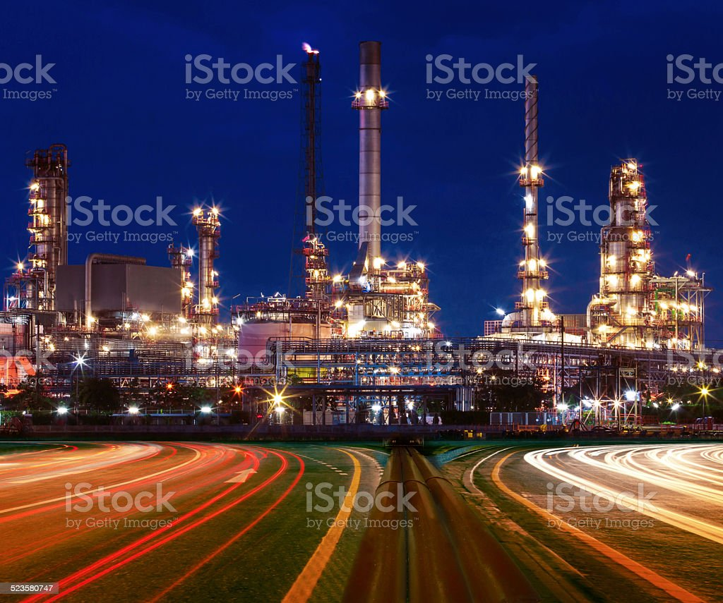 beautiful lighting of oil refinery plant in industry estate against...