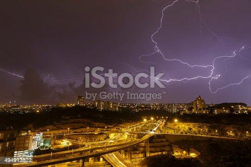 1155214300 istock photo beautiful lightning in the night sky 494913822