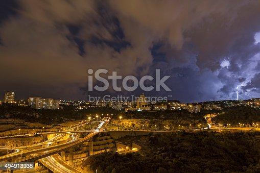 1155214300 istock photo beautiful lightning in the night sky 494913938