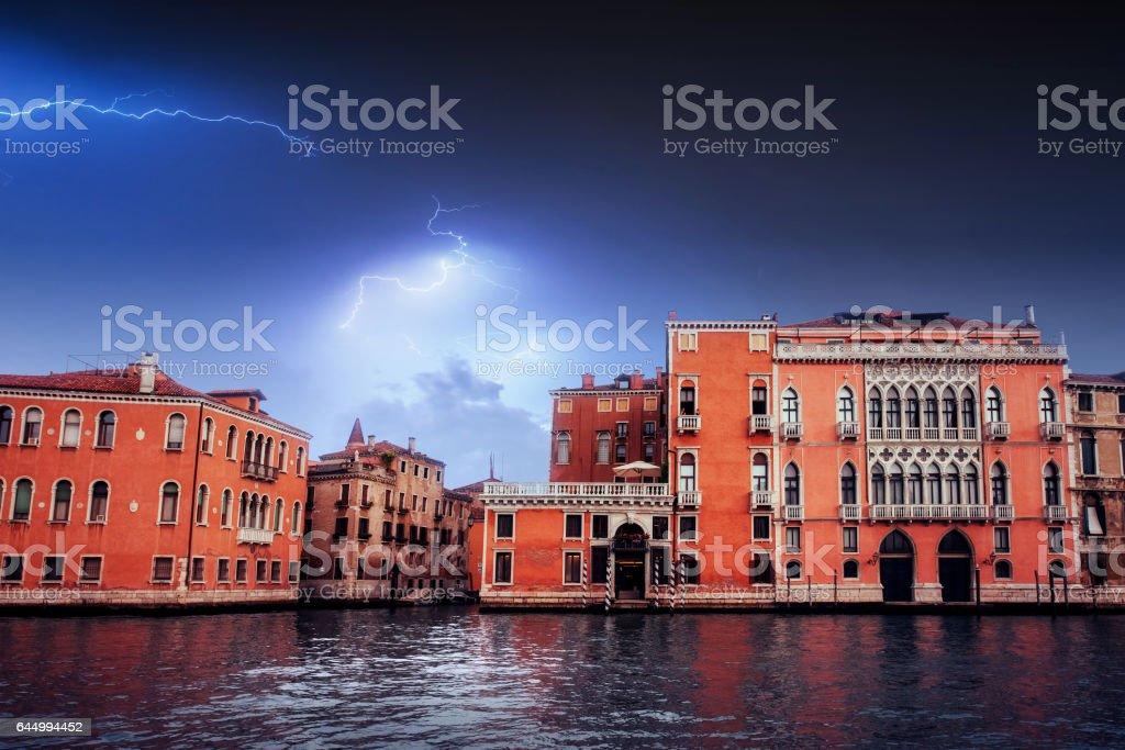 Beautiful lightning over the city. Landscape Venice stock photo