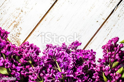 Beautiful Lilac Flowers On Rustic Wooden Planks Background ...