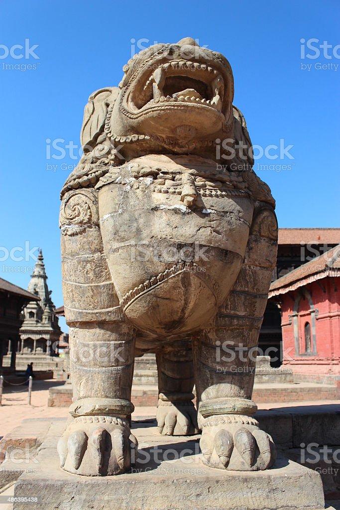 Beautiful lion statue in nepal stock photo