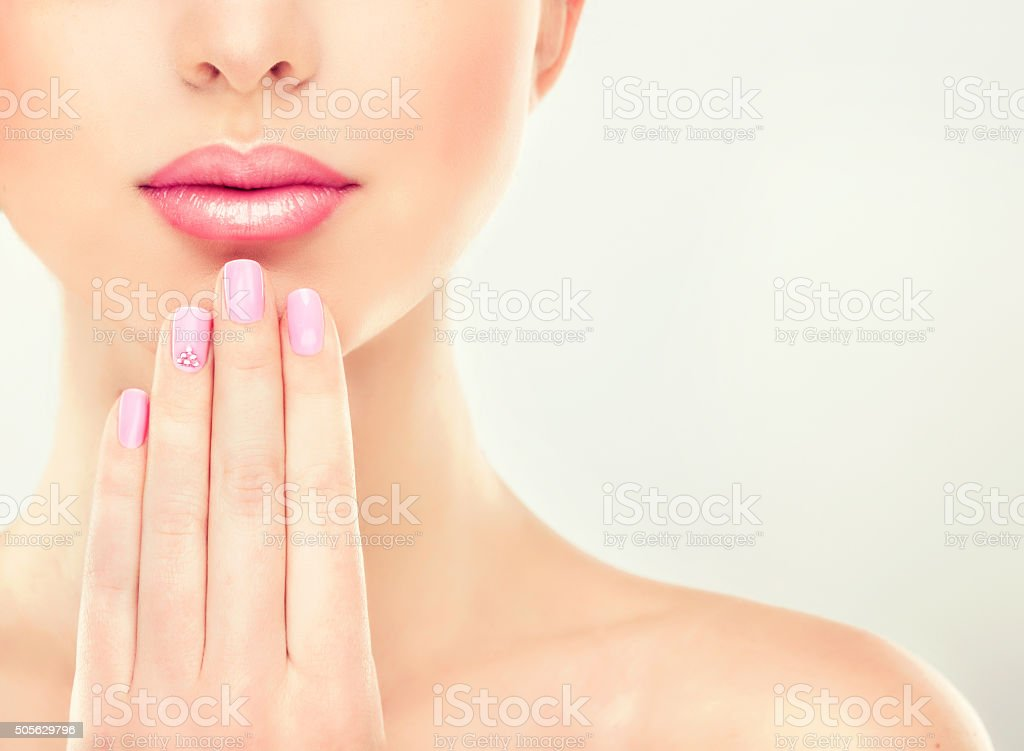 Beautiful lips and hands. stock photo