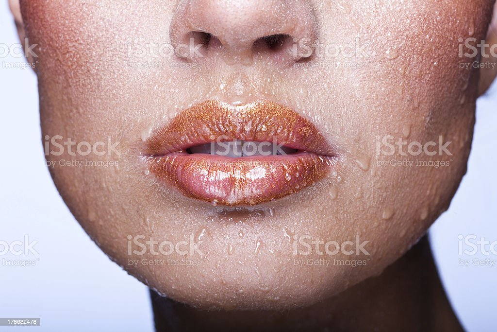 Beautiful lips closeup stock photo