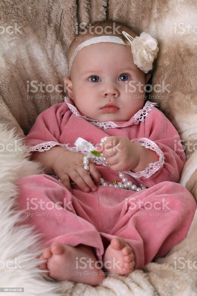 Beautiful little baby - 0-6 months stock photo