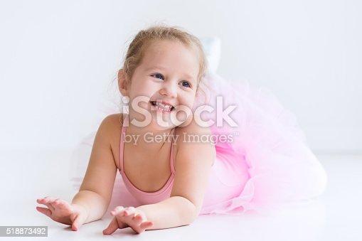 istock Beautiful little ballerina in pink tutu 518873492