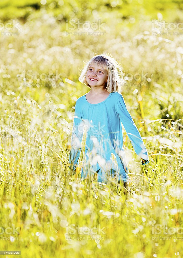 Beautiful little blonde girl standing in sunlit meadow smiling stock photo