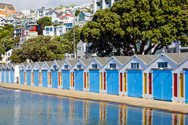 Beautiful little colorful boathouses in Wellington, New Zealand Beautiful little colorful boathouses in Wellington, New Zealand wellington new zealand stock pictures, royalty-free photos & images